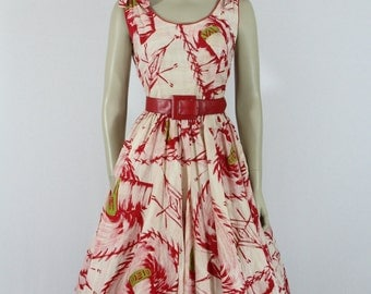 ON HOLD......1950s Vintage Dress -  Cotton Sundress - Novelty Print Large Sombrero Hats Dress