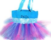 Church Tote Bag, Dance Bag, Light Blue Whimsical Ribbon With FREE Monogram Name, Personalized Girl Dance Bag, Fairy Bag, Ballet Bag