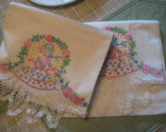 Embroidered Pillow Shams Southern Belle Motif Hand Made