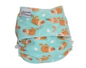 Fitted Cloth Diaper, OS, Flannel - Dogs, aqua