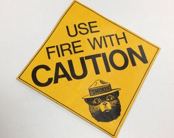 Smokey the bear vintage fire caution sticker, yellow black, rectangle, forestry service, forest fires, only you, fire prevention, safety