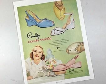 1951 shoe ad, Penaljo, candy twists, play arch, kidskin leather on linen, mint blue, lemon yellow, taffy beige, marshmallow, strawberry pink