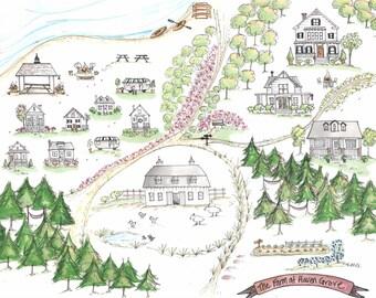 Custom Map Illustration, Wedding Map, Home Town, Local Landmark, Hand Drawn, Original Drawing