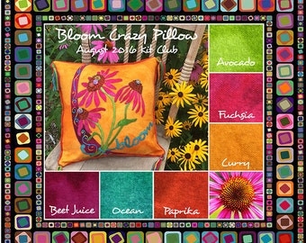 WoolyLady Bloom Crazy Pillow 100% Hand Dyed Wool Applique Pattern Kit