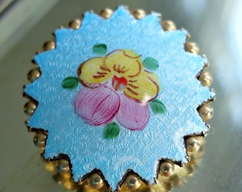 Turquoise Enamel Brass Pansy Brooch