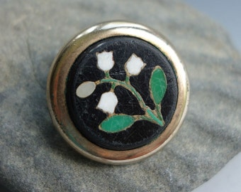 Pietra Dura Lily of the Valley Brooch