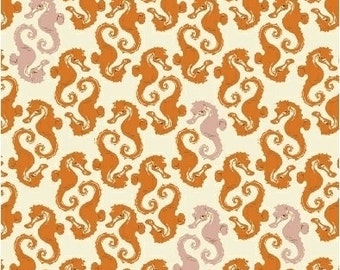 Mendocino Sea Horses in Orange/Blush - HALF YARD - 40941-15  by Heather Ross for Windham