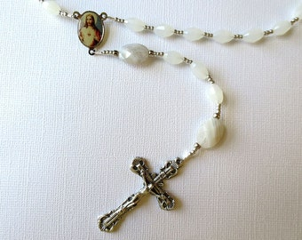 White Catholic Rosary of Snowy Quartz with Gray Sardonyx, Rosary with Sacred Heart/ Holy Family Center