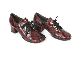 1960s Mod Lace Up Heels Snakeskin Leather Heels Red Leather Loafers Chunky Heeled Pumps Preppy Shoes Twiggy Swinging London Size 5.5 E4037
