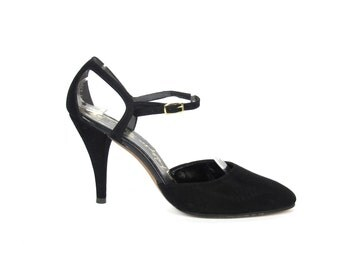 1970s Mary Jane Heels Black Suede Leather Heels Black Ankle Strap Heels Retro Cut Out Pumps Flapper Style Heels Vintage Pinup Heels Size 8 N