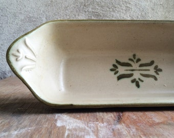 Vintage Royal Haeger narrow rectangular relish dish, green and white stoneware Haeger tulip stencil design, vintage cracker celery dish