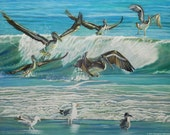 Pelican Painting - sea bird painting, ocean painting, nautical decor, pelicans, ocean wave painting, marine life art,