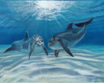Blue Crush Dolphins - dolphins, dolphin art, dolphin painting, ocean painting, nautical decor, dolphin lover gifts,