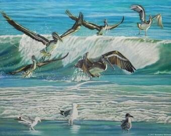 Dancing Pelicans- sea birds, nautical decor, pelicans, marine life art, ocean art, ocean wave,