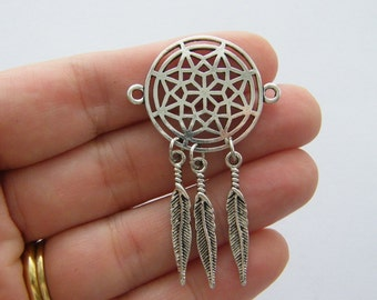 2 Dream catcher connector charms antique silver tone M684