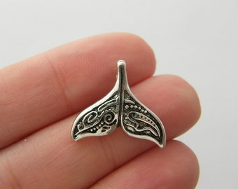 4 Whale tail charms antique silver tone FF319