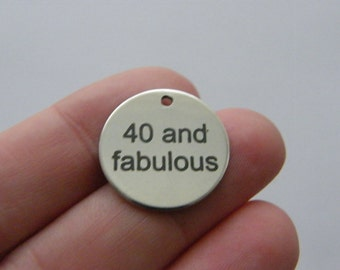 1 40 and fabulous charm 20mm  stainless steel TAG9-1