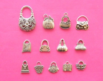 The Ultimate Handbag Collection - 13 different antique silver tone charms