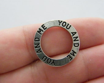 4 You and me charms antique silver tone M338