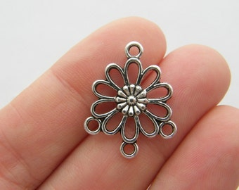 6 Three to one Flower connectors antique silver tone