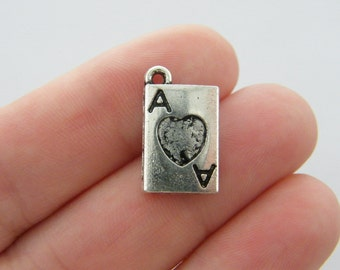 6 Ace of hearts charms antique silver tone P345