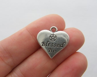 BULK 10 Blessed be pentagram heart charms antique silver tone HC21