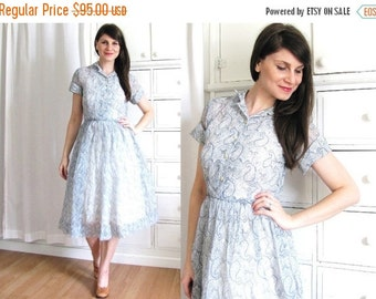 ON SALE 40s Dress / Sheer Paisley 1940s Dress
