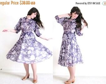 ON SALE Boho Dress / 70s Sheer Purple Floral Gypsy Dress
