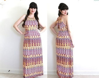 ON SALE 1970s Dress / 70s Halter Dress / 1970s Psychedelic Maxi Dress