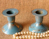 Rustic Chippy Teal Brass Candle Holders- Set of Two