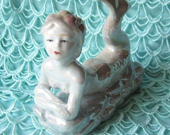 Mermaid Figurine Lusterware Vintage Mermaid Statue