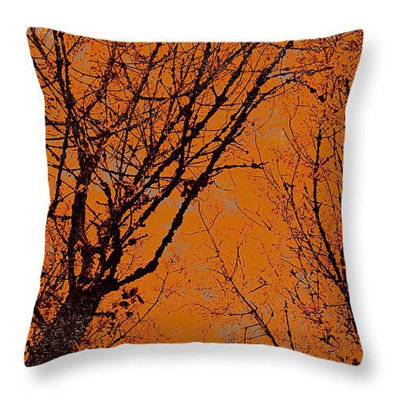 Square Throw Pillow Sizes : Decorative Autumn Pillow square or lumbar sizes silhouetted