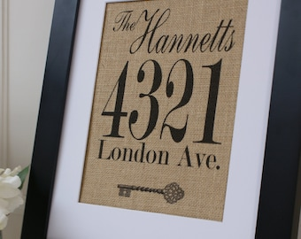 Personalized Housewarming and Wedding Gift. Name and Address Burlap Print. Great for wedding gift, engagement gift, anniversary gift!