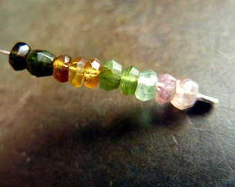3mm natural Tourmaline faceted rondelles - 10 pcs
