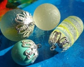 10pcs - bright silver plated - Large filigree - Glue on bead caps - glue on bails - Quality jewelry supplies since 2009