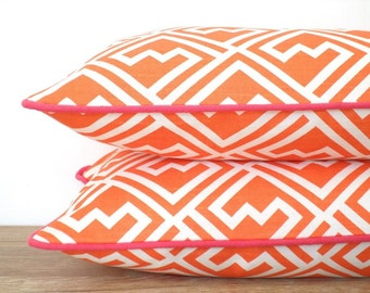 Orange lumbar pillow cover 20x12, orange and pink throw pillow, geometric sofa cushion cover, modern bolster pillow pink piping