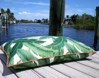 Large floor pillow cover palm print , green palm leaf cushion outdoor fabric, tropical floor cushion case, lounge seating Palm Beach Decor