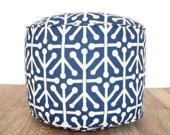 Dark blue pouf ottoman dorm room ideas, round bean bag cushion, nursery glider, blue and beige foot rest kids room decoration