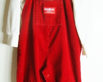 Red Corduroy OshKosh Overalls and Turtleneck - 24 months - 3 T