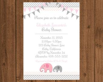 Elephant Baby Shower Invitation, Elephant Baby Girl, Elephant 1st Birthday Invitation, Printable Invitation