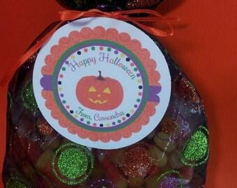 Halloween Favor Bag and Tag, Halloween Goodie Bags, Halloween Favor Tags, Halloween Treat Bag, Halloween Candy Bag