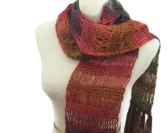 Hand Knit Scarf, Fall Colors,  Knit Scarf, Fashion Scarf, Multi-color Scarf, Winter Scarf, Fiber Art, Womens Scarf, Gift Ideas