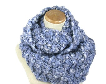 Sale Knit Infinity Scarf, Hand Knit Scarf, Gift Idea For Her, Fashion Accessory, Women Accessory Blue Scarf, Knit Snood, Knit Circle Scarf,