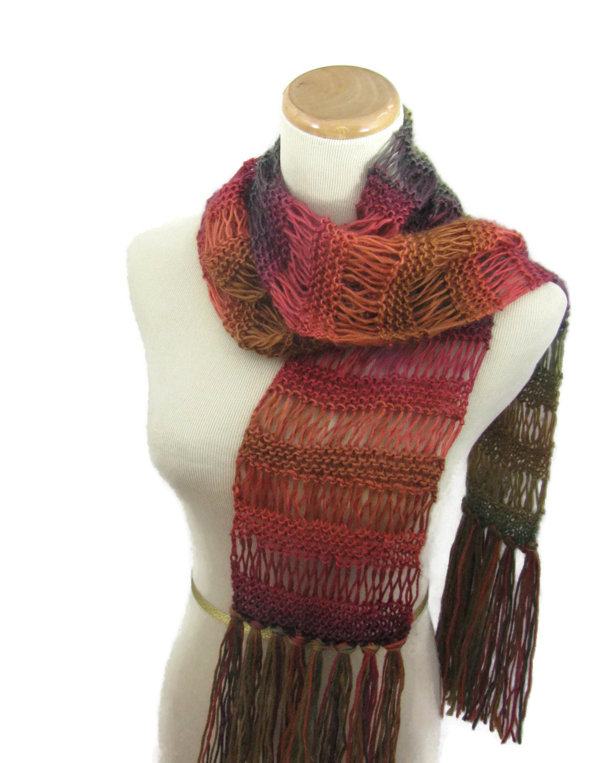 Hand Knit Scarf Fall Colors Knit Scarf Fashion Scarf