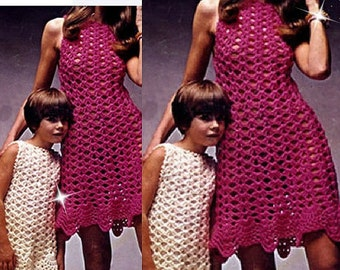 Crochet Pattern - Retro 1960s Crochet dresses - Big and Little - ladies and child's sizes