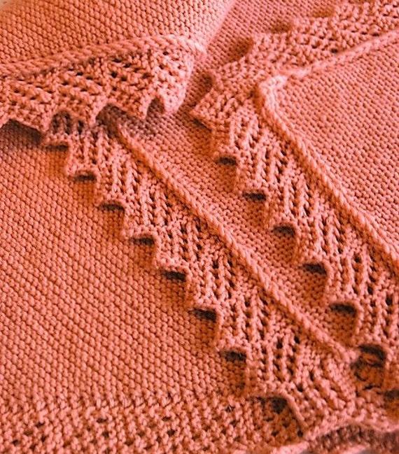 Knitting Pattern For Baby Blanket Edging : Knitting PATTERN - Easy Baby Blanket/Afghan/Shawl with ...