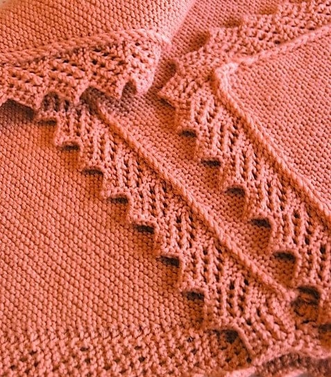 Knitting Edges For Baby Blankets : Knitting pattern easy baby blanket afghan shawl with