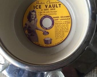 Art deco Ice Bucket /Barware Ice vault or Tropic cooler by The Heller co Bush terminal brooklyn NY Chrome ice bucket