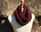 Red and Black Unisex Ribbed Cowl