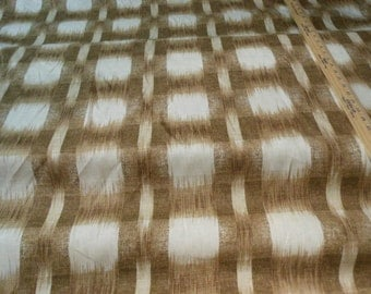 Brown tan cream IKAT cotton PLAID upholstery fabric home decor, 14-79-02-0613